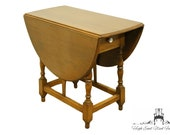 MADDOX TABLES Jamestown NY Solid Walnut Rustic Country Colonial Style Drop-Leaf Pembroke Accent End Table