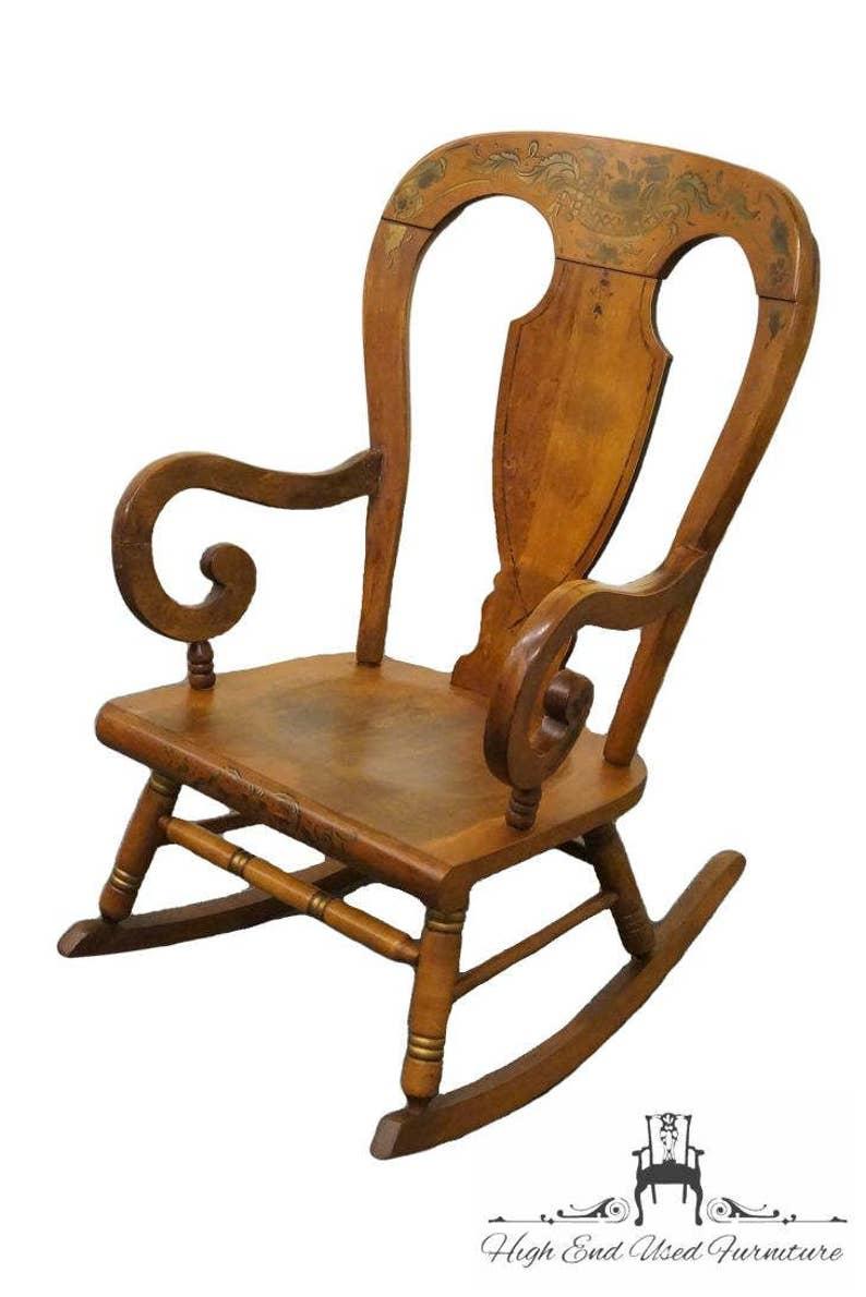 Marvelous Tell City Maple Balloon Back Hitchcock Stenciled Rocker Ncnpc Chair Design For Home Ncnpcorg