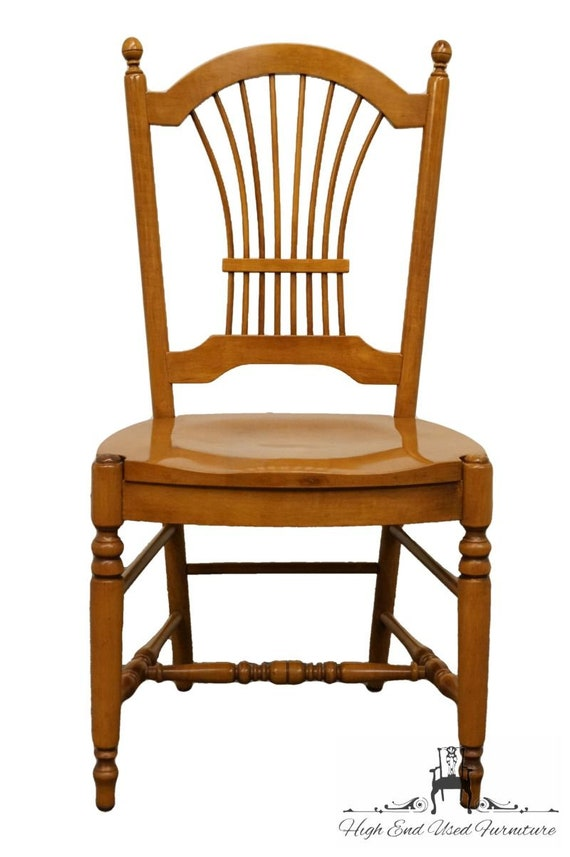 ETHAN ALLEN Casual Dining Wheat Back Dining Side Chair 16 6502 W. 247  Caramel Finish