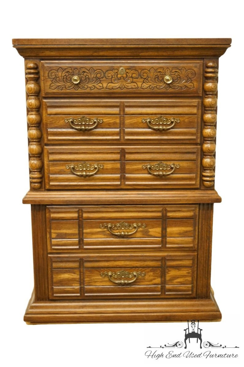 Broyhill Furniture Oak Mediterranean Tuscan Style 39 Chest On Chest