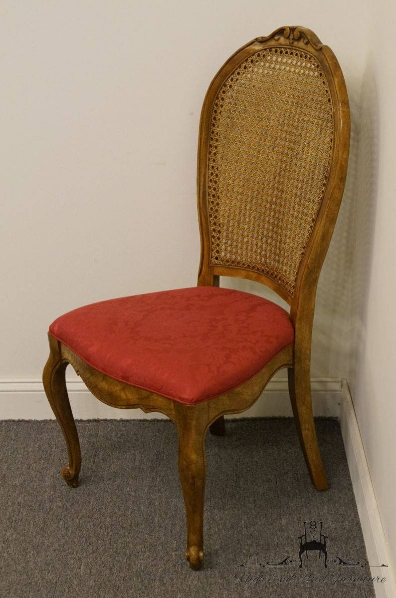 Bernhardt Antiques Hibriten Furniture Solid Pecan Country French Cane Back Dining Si...