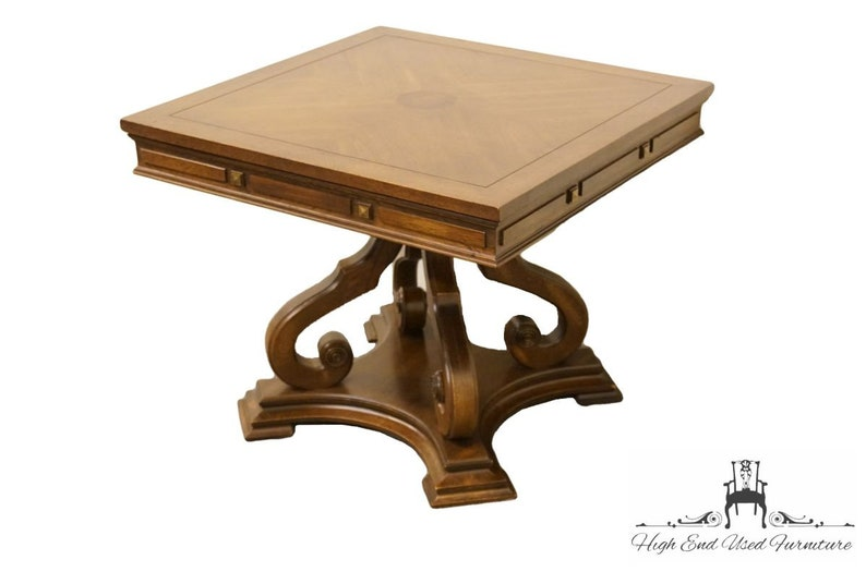 GORDON/'S FURNITURE Italian Neoclassical 26 Square Bookmatched Accent Table