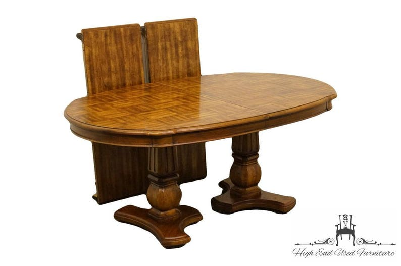 High End Country French Fruitwood Double Pedestal Parquet Top 98 Dining Table 8611 36