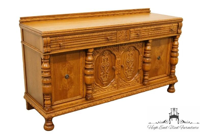 Antiques 1920s Gothic Revival Oak Sideboard Discounts Sale