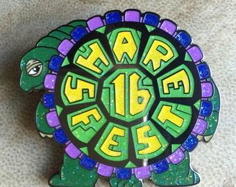Share fest glitter turtle hat pin