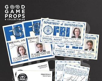 X-Files | Fox Mulder / Dana Scully FBI ID Badges, Credentials, Business Cards OR Bundle Prop Replica | 100% Screen Accurate