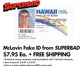 Superbad - McLovin' Driver's License (Fogell's Fake ID) - Printed/Laminated