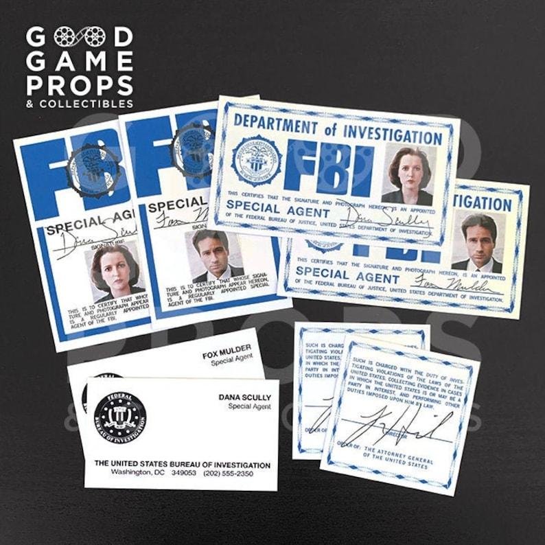 X-Files  Fox Mulder / Dana Scully FBI ID Badges Credentials Bundle