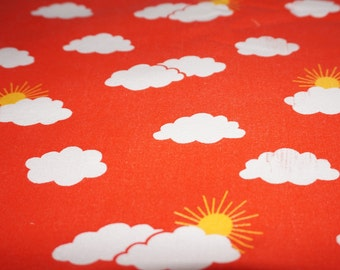 Vintage fabric fabric 80's 80's sun and clouds cotton 50 x 130 cm / 19, 6 x 51 ""