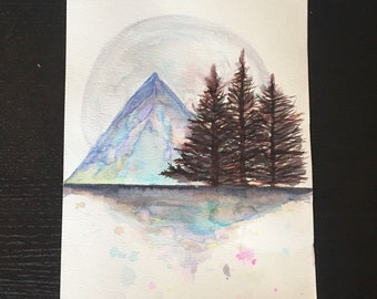 Colorful Watercolor Mountain
