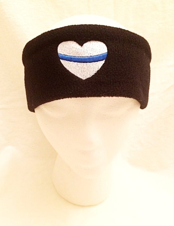 thin blue line blue lives matter back the blue police wife fleece ear warmer snow Blue line embroidered fleece headband ear muffs