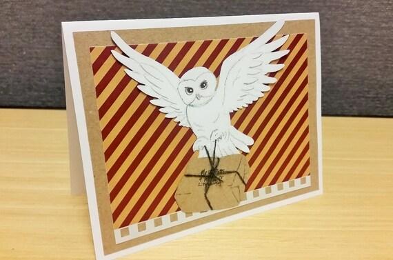 Bedwelming Hedwig verjaardagskaart Harry Potter Griffoendor bruiloft | Etsy @WR46