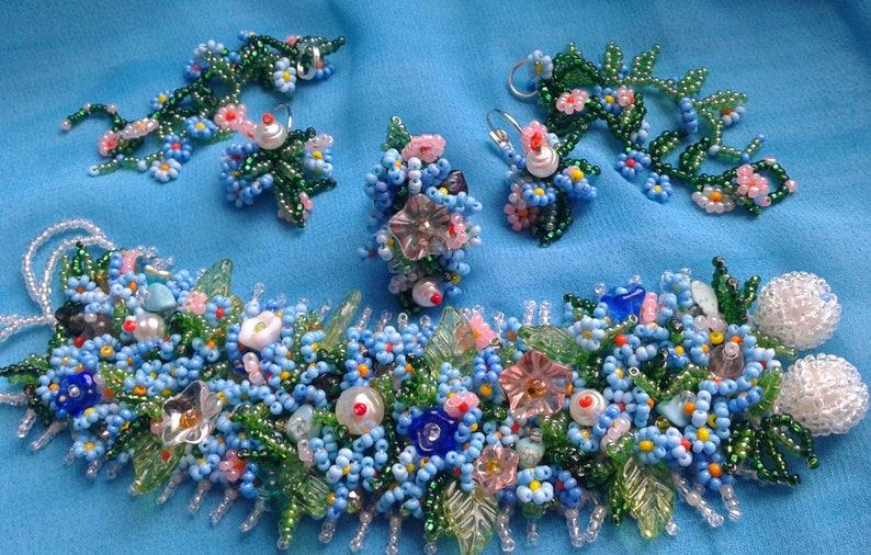 Ukrainian handmade.Ukrainian jewelry Wonderful beaded set necklace, bracelet , earrings and ring 2 in 1 Forget me Not