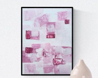 Abstract painting, rosa, Original painting, white, Wall Art