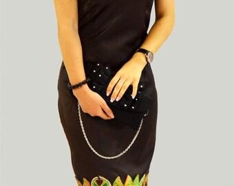 beautiful African fabric satin evening dress