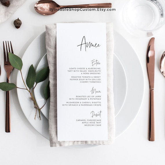 photo about Printable Menu Cards named Printable Menu with Names, Personalized Menu Playing cards, Boho Wedding day Menu Style and design, Print You, Reception Menu Card