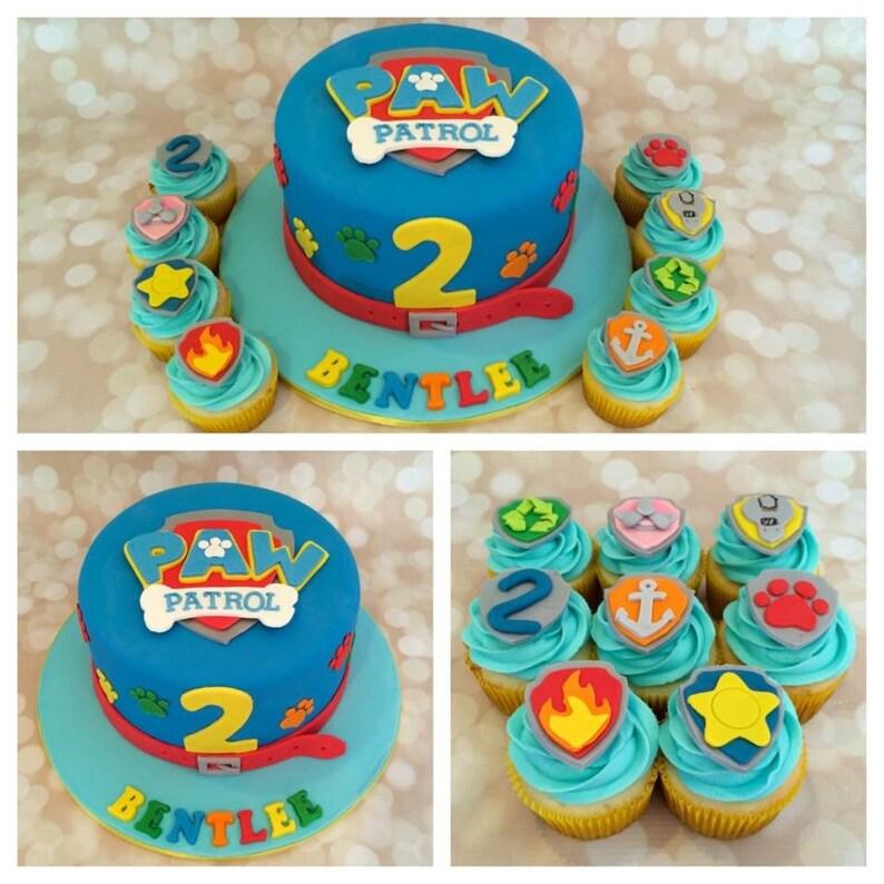 Fondant Edible Paw Patrol Cake Cupcake Topper Set