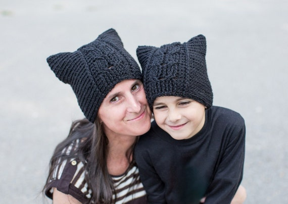 Crochet Pattern For Pussy Hat Cat Hat With Cable Panels Etsy