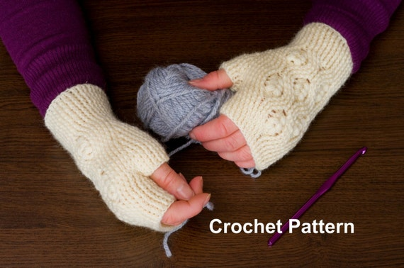 Textured Cable Puff Fingerless Mittens Crochet Pattern Etsy