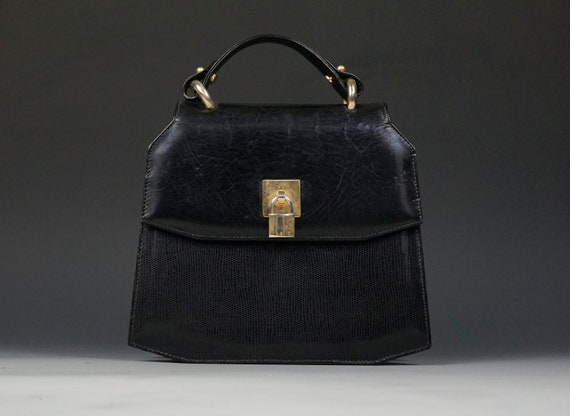 Key and Lock Leather Purse Black Color