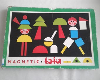 Vintage 1960 Magnetic TOIA children game Tofa Playset WOOD SHAPES Picture Maker