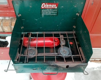 Awesome And vintage 1966 Coleman 411A naphtha camp stove 2 burner working