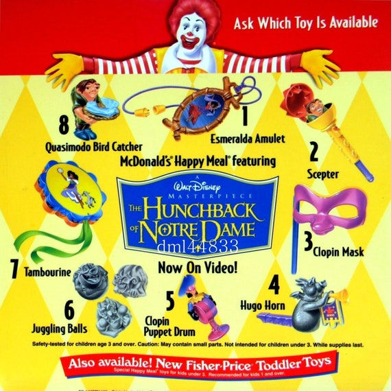 1996 Hunchback of Notre Dame McDonalds Happy Meal Toy Drum #5