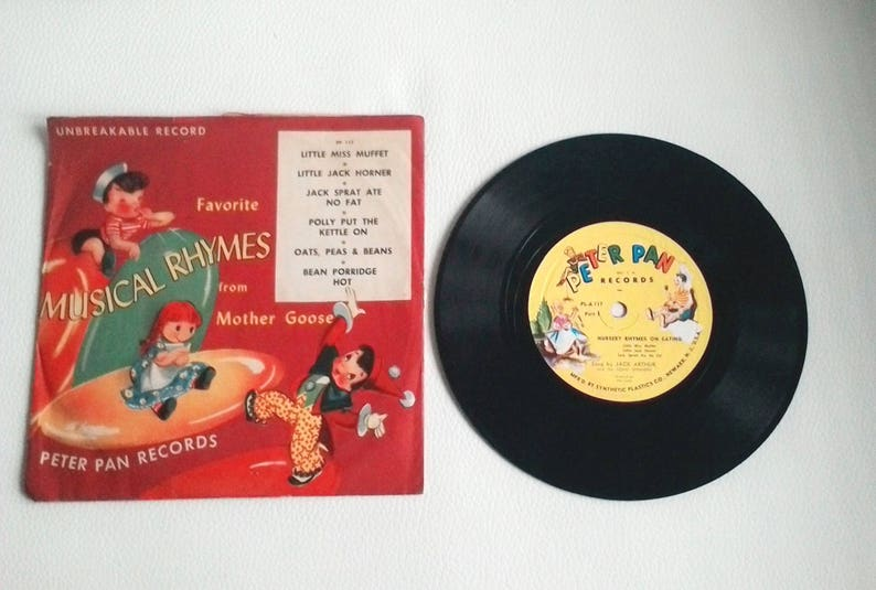 Peter Pan records 78 RPM 1949 favorite musical rhymes from mother goose pp  117 Unbrekable record Very Rare and Hard to find!