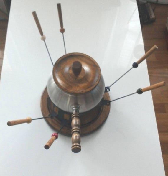 Vintage Imperial International Japon en acier inoxydable bois Fondue Set fourchettes etc...