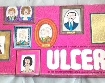 Vintage Ulcers Board Game House of Games 1969 Create a Company french and englishe version 100% Complete with Instructions