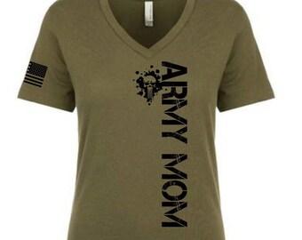 754168126d23 Army Mom V neck Military Green T shirts.