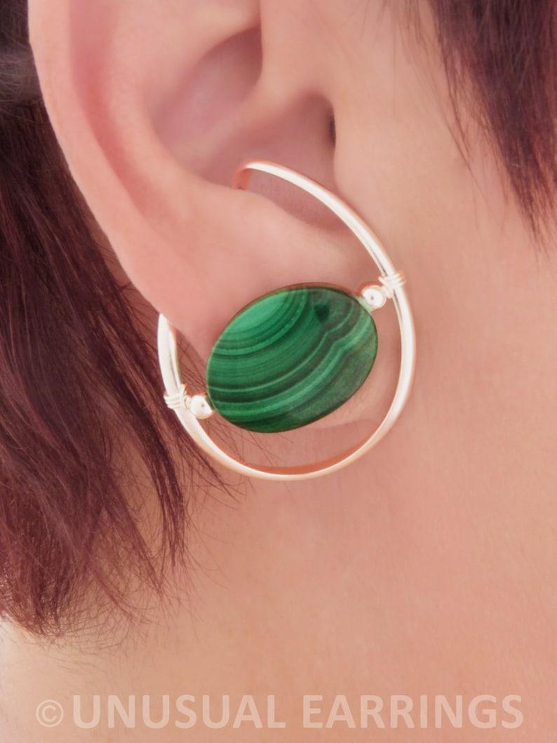 clip on comfortable Illuzio Unusual Earrings deep green non-pierced Malachite ear cuff ear wrap Sterling Silver unpierced earrings