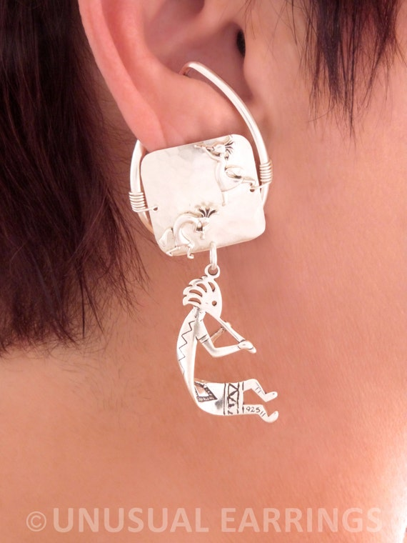 Sterling Silver Left And Right Kokopelli Musician Ear Cuff Wrap Set