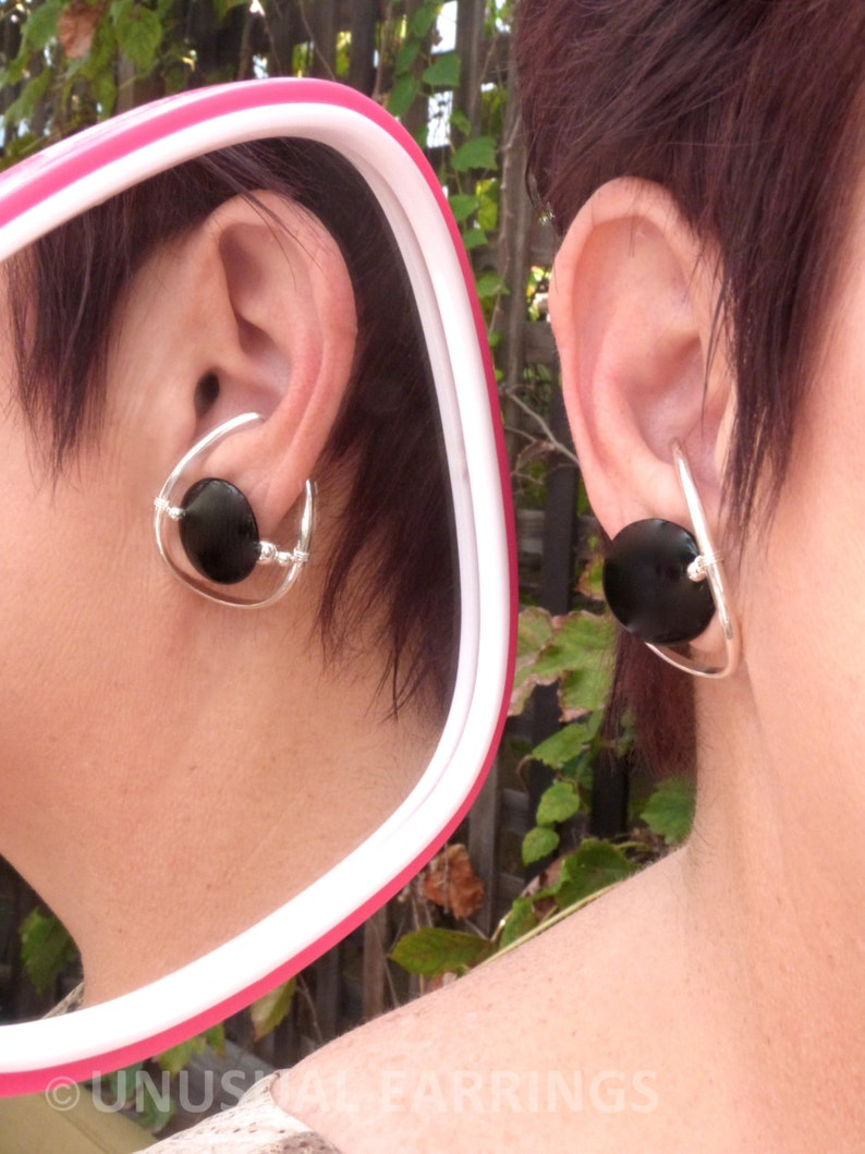 Sterling Silver unpierced earrings non-pierced black onyx ear cuff ear wrap clip on comfortable Illuzio Unusual Earrings