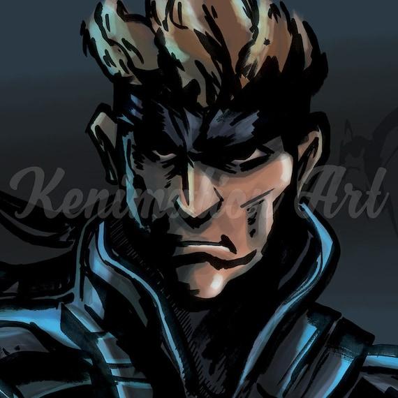 Metal Gear Solid Solid Snake Art Print Playstation Video Game Fan Art