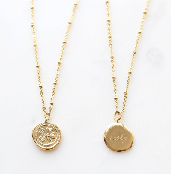 Good Luck Charm Necklace Clover Flower Gold Necklace Minimalist Dainty Necklace Gift for her