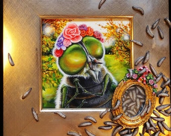 Fly with maggots painting, fly art in gold frame, mother and children maternity art, surreal insect art, weird art