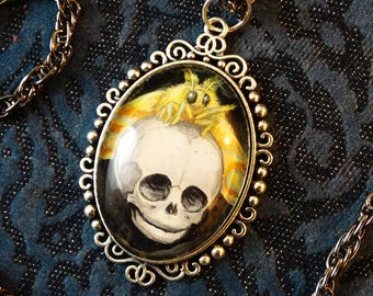 Handpainted Baby Skull with Moth, gothic necklace, skull pendant, insect jewelry, moth