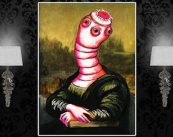 Custom poster, Mona Lisa, Leonardo DaVinci print, tapeworm, surreal art, A3, A2, A1, custom size print, art print