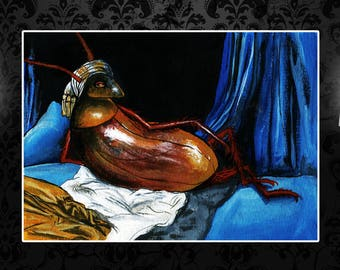 Odalisque Cockroach custom print, after Ingres, sizes A4, A3, A2 and A1, art print, home decor, surreal art, insect art, nude, funny poster
