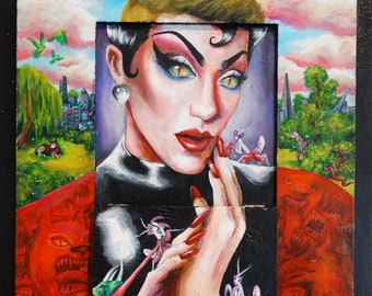 Drag Queen painting, Gay portrait art, LGBTQ art, surreal art secret door, surreal home decor, 2 in 1 painting
