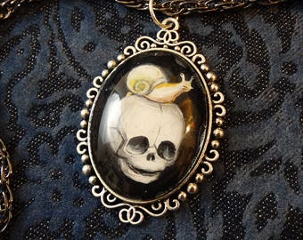 Handpainted Baby Skull with Snail, gothic necklace, skull pendant, snail jewelry
