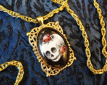 Handpainted Baby Skull with Ladybirds, gothic necklace, skull pendant, insect jewelry, ladybug pendant