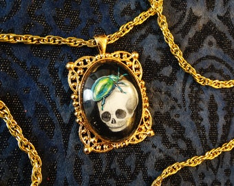 Handpainted Baby Skull with Green Beetle