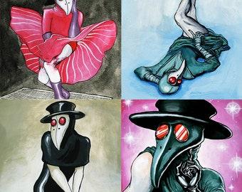 Plague Doctor original art, gouache painting, choose design, surreal home decor, surreal art, pin-up, plague doctor art, original art