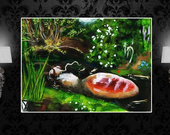 Ophelia Mosquito custom print, after John Everett Millais, sizes A4, A3, A2 and A1, insect art, absurd art, surreal art, Ophelia poster