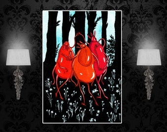 Three Ticks as the Three Graces custom print, after Botticelli, sizes A4, A3, A2, A1, tick, insect art, insect poster, surreal art, absurd