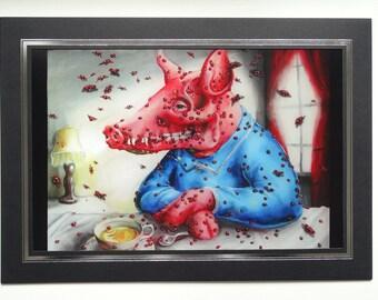 Surreal Pig Art print, weird art, Pig art, ladybugs insect art, framed print, gothic art, pig skull