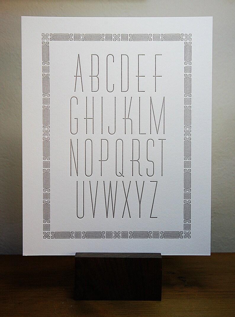 Letterpress ABC Print Nursery Wall Alphabet Poster Wall image 0
