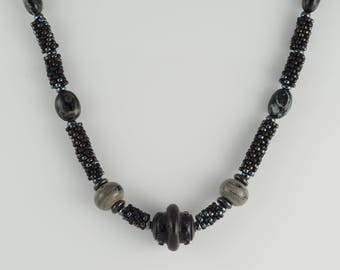 Black Beaded Rope Necklace with Handmade Lampwork Beads